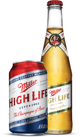 Miller High life bottle and can