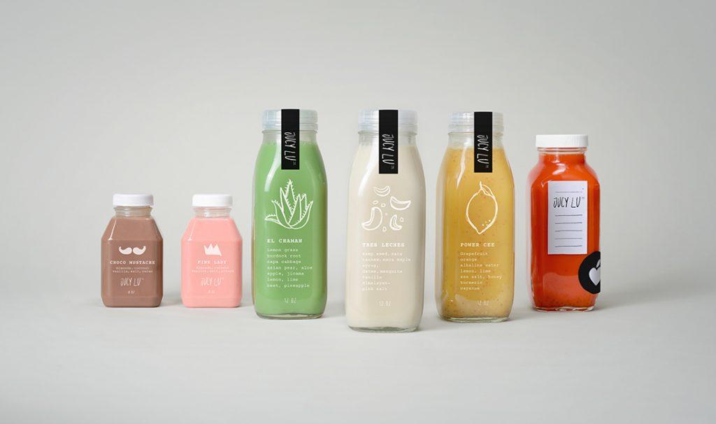 Minimalist plastic juice packaging