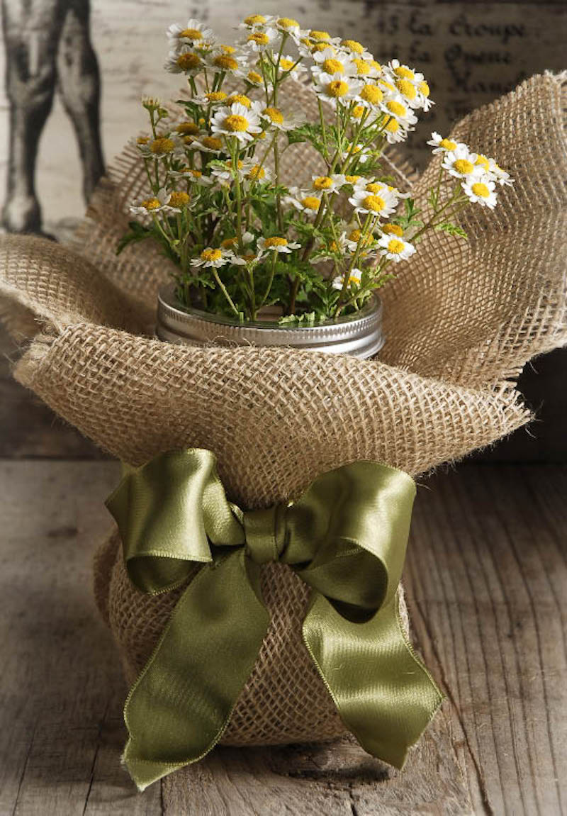 Plant Packaging Burlap Plant Cover with Ribbon