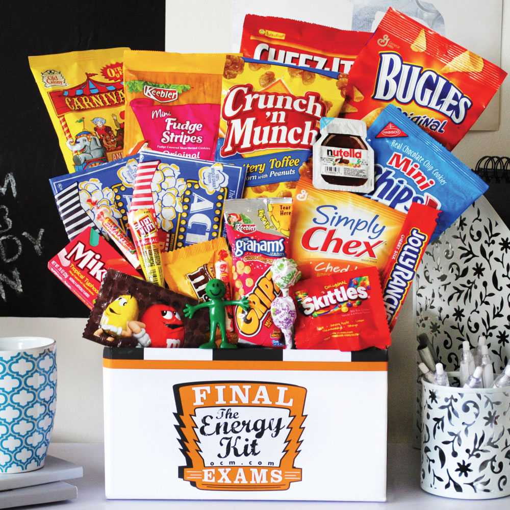 Finals care package ideas - the final exam energy kit with food